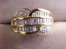Estate 18k Solid Yellow Gold  apx.2.00ct Unique Bayette Diamond Ring skais14M