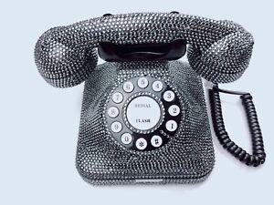 BlingUstyle new generation Unique U.K sign Retro Grey Crystal Real Telephone