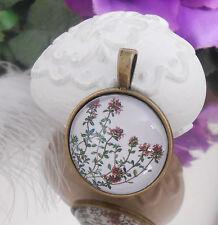 Ketten Anhänger Zweig Blüten Blume Glas Cabochon -  Amulett bronce