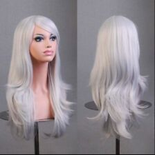 Silver 70cm Women Curly Wavy Hair Wig Fashion Costume Party Anime Cosplay