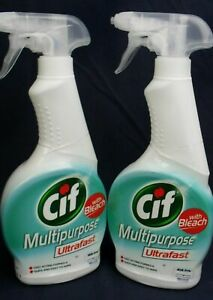 2x Cif Mulitpurpose Spray Cleaner With Bleach 450ml x2 Fast Acting Quick & Easy