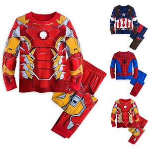 Baby Kids Boys Super Hero Iron Man Pyjamas Sleepwear Nightwear Novelty Outfits