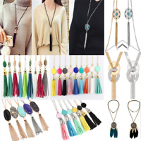 Newly Women's Druzy Stone Enamel Feather Beads Long Tassel Pendent Necklace JT