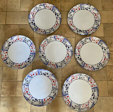 7 Vintage Jimtown Straight Card Players 9.25� Dinner Plates By Thornberry's Usa