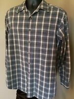 LL Bean Shirt Men's m regular Blue and tan Plaid Cotton Long Sleeve button up