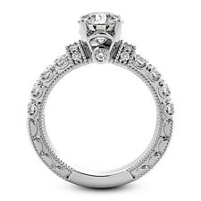 1 CT ROUND CUT DIAMOND ENGAGEMENT RING SI1/H 14K WHITE GOLD