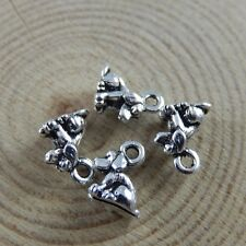 Antique Silver Alloy Cute Mini Dog Pendants Charms Crafts Findings 10pcs 38487