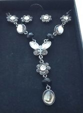 Crystal Butterfly Necklace & Earring Boxed set new in presentation gift box