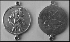 PEWTER CHARM #144 ST CHRISTOPHER Medallion 2 bails joiner (20mm x 27mm) medal