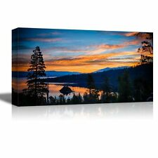 """Canvas - Reflection of Clouds in a Lake, Lake Tahoe, Sierra Nevada - 18"""" x 36"""""""