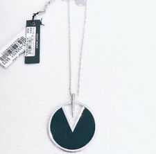 Vince Camuto Statement necklace NWT Inlaid Green Leather Pedant