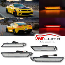 Clear Front&Rear LED Side Marker Lights For Chevrolet Chevy Camaro 2010-2015 4Pc