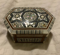 Vintage Syrian Marquetry Six Sided Trinket Box Mother Of Pearl Bone Inlay Lined