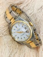 Men's Rolex Date 34 mm Two Tone Automatic White Roman Oyster Watch