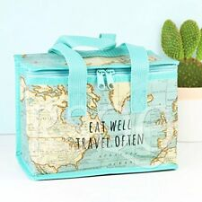Vintage Map Insulated Recycled Plastic Lunch Bag Sass and Belle