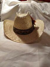 VTG STETSON Bryant Finish 'Roadrunner' Straw Cowboy Hat w/ band & feather 7 3/8