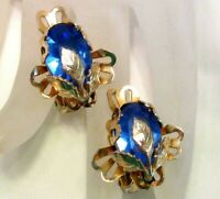 Vintage Coro Gold Tone Blue Glass Stone Flower Earrings L254
