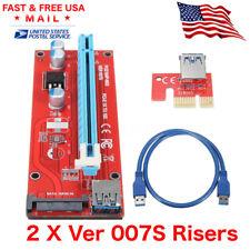 2 x VER 0007S PCI-E 1X 16X Powered USB 3.0 SATA GPU Riser Adapter Cable ETH ZEC
