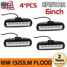 """Slim 4X 6"""" inch 18W Flood LED Work Fog Light Bar Truck Driving Offroad SUV 4WD"""