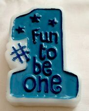 "Boy's 1 / 1st Birthday Moulded Candle Amscan Cake Party ""FUN TO BE ONE"" Blue"