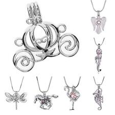 18K White Gold Plated Pearl Cage Pendant Locket For Necklace Wish Jewelry LE UK