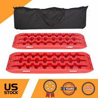 Pair Red Recovery Tracks Sand Traction Snow Mud Tire Ladder Off Road Car 4WD