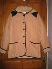 Quilted Jacket with Hood and Pockets Size 14 - Light Tan with Brown Edgeing