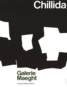 EDUARDO CHILLIDA Galerie Maeght 25.5 x 20 Lithograph 1968 Abstract Black & White