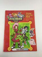 Digimon Digital Monsters Team Effort Sticker Activity Coloring Book Vintage 2000