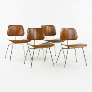 Set of Four 1948 Eames Evans for Herman Miller DCM Dining Chairs Metal Walnut