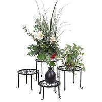 4pcs Metal Outdoor Indoor Pot Plant Stand Garden Decor Flower Garden Rack Stand