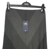M&S Ladies Skirt Grey Brown Chevron Look Lined Midi Aline 8 BNWT Marks