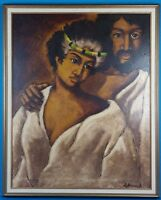 Le Branch Untitled Hawaiian Man & Woman Portrait Oil On Canvas