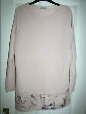 ladies pretty pink thin knit top with floral hem from Per Una at M&S size 14