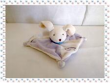 M - Doudou Semi Plat Carré Lapin Chien Mauve Blanc Les Bonbons Baby Nat