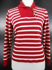 Classic Women's Medium Ralph Lauren Jeans Co. Red & White Striped LS Sweater GUC