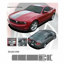 """Center Stripe"" Ford Mustang '10-12 w Scoop Vinyl Graphics Kit - Metallic Silver"