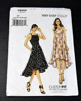 Vogue V9252 Dress Sewing Pattern Sz 14 16 18 20 22 Very Easy Fitted High Low Hem
