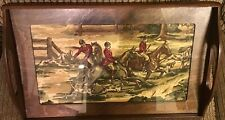 Fox Hunt Hunting Fabric Under Glass Wood Framed Serving Tray