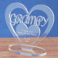Personalised Heart Message Ornament Keepsake Grampy Father's Day Birthday Gift