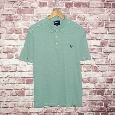 FRED PERRY Men's Slim Fit Short Sleeve Polo Shirt Green Striped Sz XL