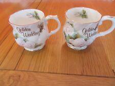 Lovely Vintage Queens Fine Bone China Golden  Wedding Mugs x 2