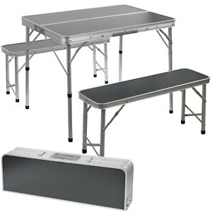 Portable Foldable Camping Picnic Table Bench Set Outdoor Metal BBQ Stool Stable