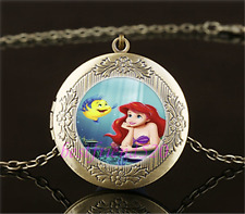 Mermaid And Fish Photo Cabochon Glass Brass Locket Pendant Necklace