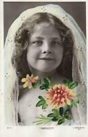VINTAGE HAND COLOURED and HAND PAINTED REAL PHOTO GORGEOUS YOUNG GIRL POSTCARD
