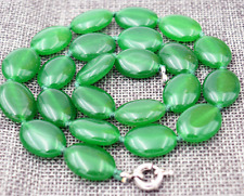 """New 13x18mm Green Emerald Gemstones Oval Beads Necklace 18"""" AAA"""