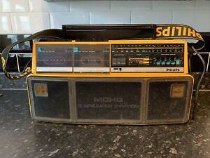 Vintage 80's Philips D8304 2 Deck Stereo Boom Box Ghettoblaster Working Project