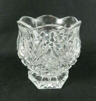 "Crystal Votive Tealight Holder Scallop Edge Diamond Pineapple Pattern 3-1/4"" H"