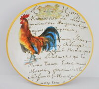 """WILLIAMS SONOMA ITALY ROOSTER SCRIPT 14"""" PASTA SERVING BOWL FRENCH WRITING"""