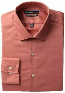 Vegan Geoffrey Beene Men's Long-Sleeve Fitted Non-Iron Sateen Shirt Orange